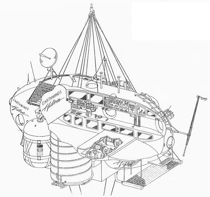 """Капсула  """"Ветров Земли """".  Против часовой стрелки: иллюминатор, контейнер с кислородом, баллон для жидкого гелия..."""